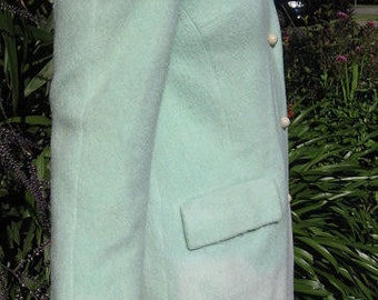 1960s pastel green wool coat -  Sz M