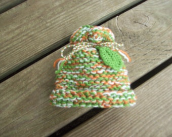 Smaller,Newborns,Tri Color,Hat,Leaf,Photo Prop,Gift,Girls,Baby,Infant,Green,Rust,Cream,Hand Knit,Babies