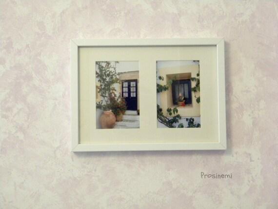 Blue white door picturesque summer photo print -Travel photo - greek islands - Kythira Greece