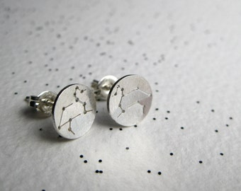Zodiac Constellation Stud Earrings - Sterling Silver