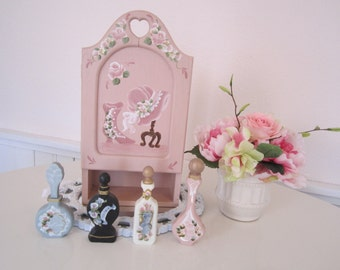 Gorgeous Shabby Chic Victorian Rose Hand Painted Wooden Vanity Set Perfume Pink