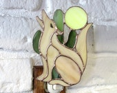 Stained Glass Howling Coyote Nightlight