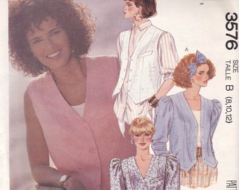 Vest or Blouse Pattern McCalls 3576 Sizes 8-12 Uncut