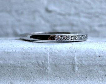 Vintage Channel 18K Diamond Wedding Band by Jabel.
