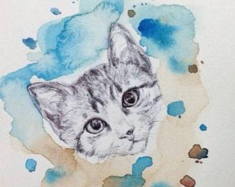 Graduation Gift - Custom Pet Portrait - Personalized dog art, pet art, cat art, cat portrait, kitten art, personalized present
