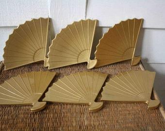 Fan-shaped coasters, Japanese coasters, Otagiri, Chinoiserie, Hollywood Regency