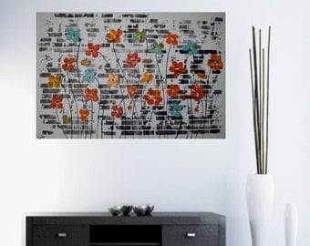 """Original Abstract Painting  Modern art Acrylic Painting Wall with Flowers Handmade by Carola, 36""""x24"""" FREE SHIPPING"""