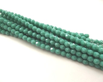 25 Green Turquoise Firepolished Faceted 6mm Czech Glass Beads