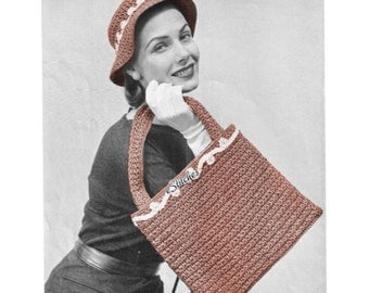 1950s Flat Bag with Handles wtih Floppy Hat with Brim - 2 Crochet patterns PDF 3755