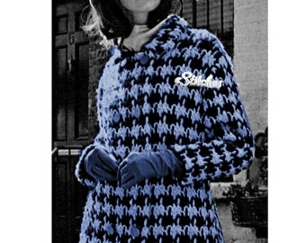 1960s Classic Houndstooth Check Double Breasted Coat - Crochet pattern PDF 6850