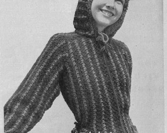 1940s Sporty Hooded Sweater 2 Color Stripes, Zip Front - Crochet PDF pattern 9550