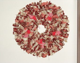 Homemade Homespun Fabric Red/Natural Christmas Rag Wreath 13 inches x 13 inches