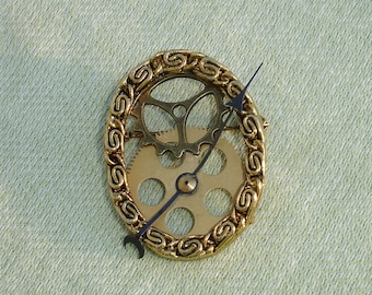 Steampunk Brooch with Gears and Clock Hand