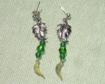 Leaf  Post Dangle Earrings - Handmade Jewelry