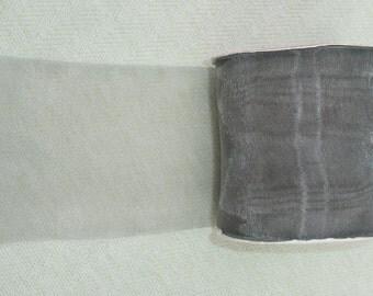 Wide Grey Sheer Satin Ribbon - 3 inch
