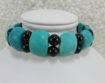 Turquoise Bracelet Beaded Bracelet Turquoise Black Bracelet Gemstone Bracelet Stretch Bracelet Handmade Handcrafted Jewelry Trendy Bracelet