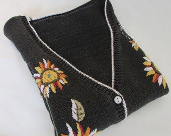 Coupon code SALE Plus Size  Vintage Sleeveless Sweater Cardigan cotton with handmade embroidery sunflowers country charm great for layering