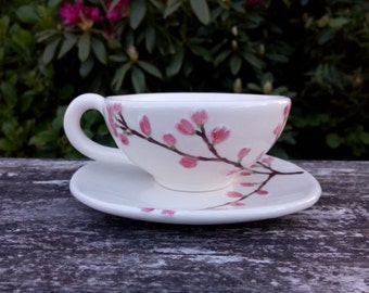 Cup and saucer, Cherry Blossom creamy white and pink glazed ceramic, Sakura MADE TO ORDER