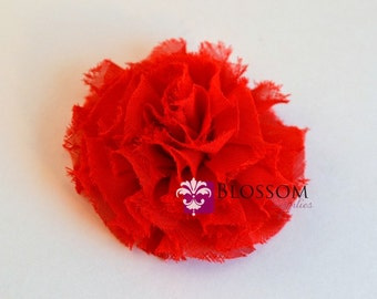 The Debra Collection - Red Frayed Petti Puff Flowers - Shabby Chiffon - DIY Flower Headband - Wholesale Blossom Supplies Rose Carnations