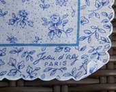 Vintage Blue and White Floral Paris Handkerchief Wedding Hankie Something Old Something Blue