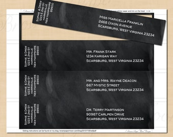 Chalkboard Wrap-Around Address Labels (9x1.75): Text-Editable, Printable, Instant Download