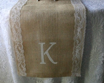 Monogramed Burlap and lace table runners, French country weddings, shabby chic, rustic elegance