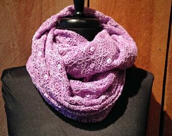 Knit print infinity scarf - Purple Lace