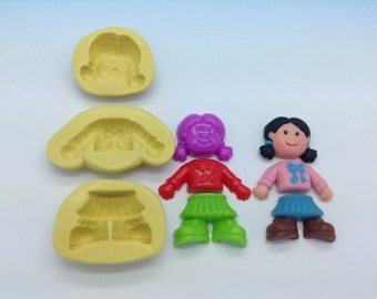 Girl's Flexible Silicone Push Mold for Polymer clay, ,cold porcelain,Resin,Wax, Food,Sweets,fimo,chocolate.