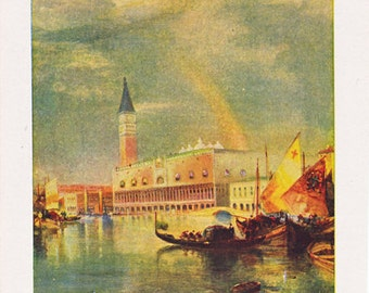 vintage Thomas Moran print of 'The Harbor of Venice', a page from a 1920's encyclopedia.