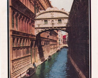 vintage print of Venice, The Bridge of Sighs, a page from a 1930's encyclopedia
