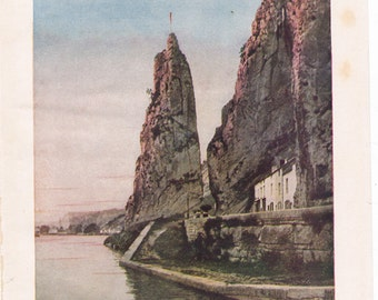 vintage travel illustration from the 1930's, Bayard Rock on the Meuse