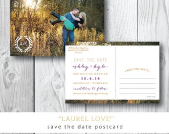Laurel Love | Photocard Save the Date Postcard | Printed or Printable by Darby Cards