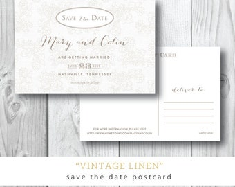 Vintage Linen Printed Save the Dates | Save the Date Postcard | Printed or Printable by Darby Cards