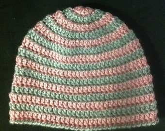 Grey and Pink Striped Beanie