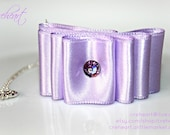 Lavender Satin Ribbon Pendant 925 Silver Sterling Chain, Swarovski, Birthday, Wedding, Bridesmaid, Anniversary, Creheart - EU FREE Shipping