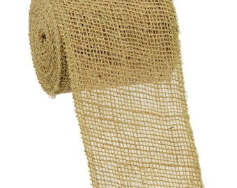 4 Inches Natural Jute Burlap Roll - 10 yds - Burlap Ribbon : JRH04-12