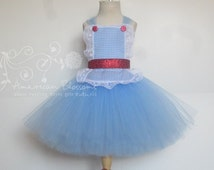 Dorothy Costume Tutu Dress Baby Girls Toddler Halloween Costume Dorthy Wizard of Oz costume by American Blossoms
