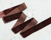 Beautiful French vintage dark chocolate brown velvet  ribbon - 1 inch in width - yardage