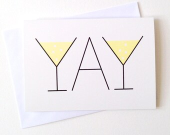 YAY card, Wedding card, Well Done card, Engagement card, Thank you card, Anniversary card, Graduation card, Type card, Typography card
