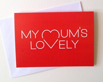 Mum Card, Mothers day card, Lovely Mum card, cute mothers day heart card, mum day card, best mum, mummy card, happy mother days, mom day