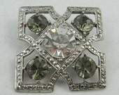 "Vtg Pin Silvertone 1.25"" Square  Smokey & Large Clear Rhinestones"