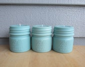 BALL MASON JAR Candles-Light Turquoise Half Pint Ball Perfect Mason Jar Candle- Pillar Candles-Favors, Gifts, Rustic, Centerpieces, Wedding