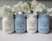 Painted and Distressed Ball Mason Jars- Light Blue and White-Set of 4 Flower Vases, Rustic Wedding, Centerpieces