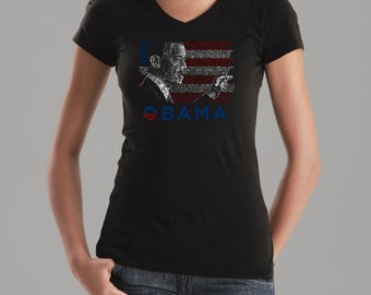 Women's V-Neck T-Shirt - President Barack Obama Created Out of All the Lyrics to America the Beautiful