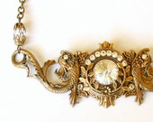 Koi Fish Crystal Necklace Swarovski Necklace Statement Necklace Brass Fantasy Gothic Necklace Gothic Jewelry