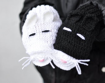 CHRISTMAS SALE CAT Fingerless Gloves adult size, crochet mittens, gift for girl, winter accessories