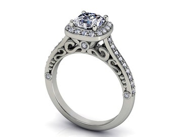 hand made cushion moissanite and diamonds engagement ring in white gold,style 134WDM