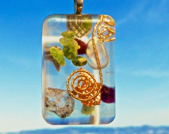BALANCING Amulet with HERKIMER DIAMOND, Wyoming Jade, Almandine Garnet. Orgonite.Positive Energy Orgone.