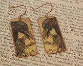 Raven jewelry Crow earrings Arthur Rackham jewelry art jewelry mixed media jewelry