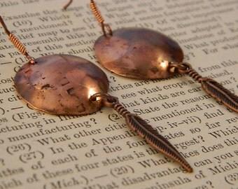 Copper earrings Shield earrings Disk earrings